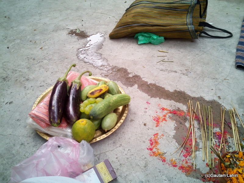 At Gaya, A multitude of items was arranged as part of the puja by Gautam Lahiri