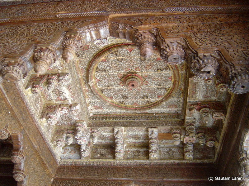 Carved out of wood, the ceiling was fascinating. The precision and artistic touch lay all over the great palace. We were looking at some of the finest creations of the Deccan trap at Bidar fort by Gautam Lahiri