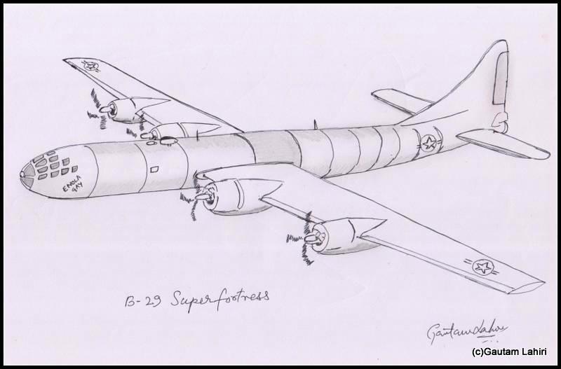 b 29 superfortress 1945 drawn by Gautam Lahiri