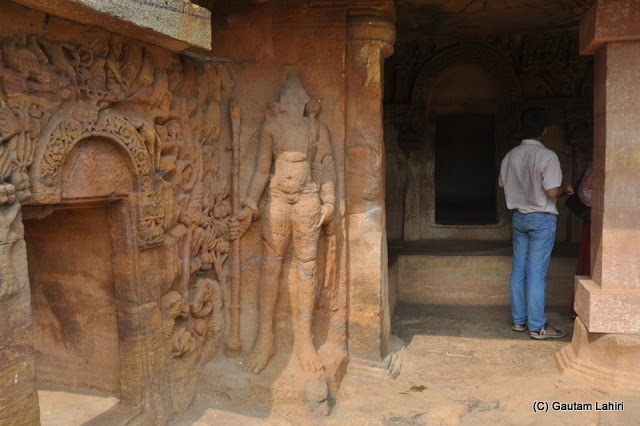 Dwarpals engraved and stand tall beside the doorway  at Bhubaneshwar, Odissa, India by Gautam Lahiri