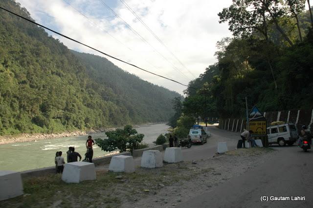 Kalimpong to Darjeeling road along the Teesta river  at Darjeeling, West Bengal, India by Gautam Lahiri