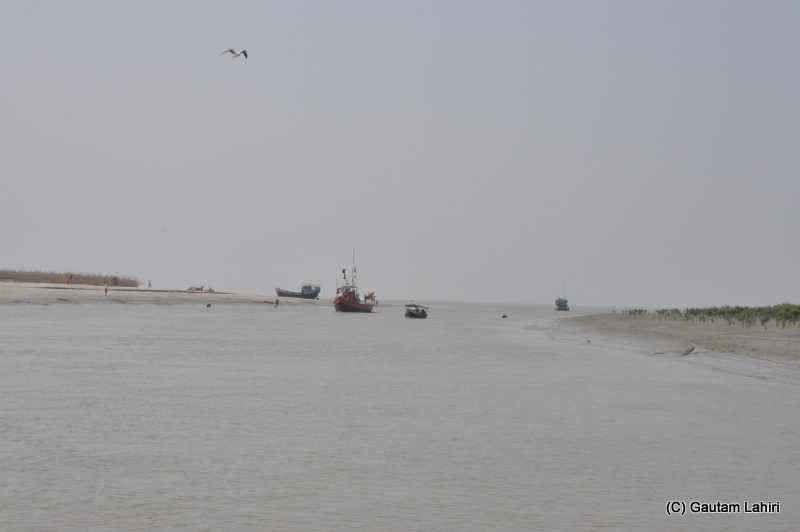 Boat ride on Creeks at Frasergunj, Bakkhali beach, West Bengal, India near Bay of Bengal by Gautam Lahiri