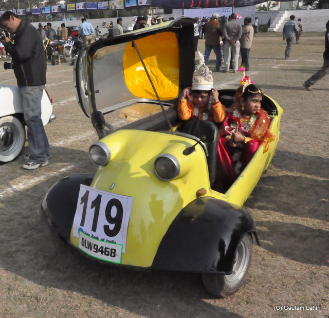 Does n't it resemble like a mud flapper fish? This is a 1960 Messerschmitt, running on a 191 cc, 2 stroke 1 cylinder had enough grunt to take three people around city roads  at Kolkata, West Bengal, India by Gautam Lahiri