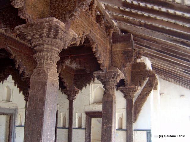 Made of wood, the decorative pillars still supported gracefully the top structure with unparalleled beauty of wood carvings at Bidar fort by Gautam Lahiri