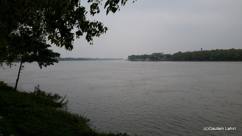 The wide river formed a crescent shape as she turned right from the town. As the banks looked like a moon, from the top, few say that the town got its name 'Chanda' which means moon in Chandannagar by Gautam Lahiri