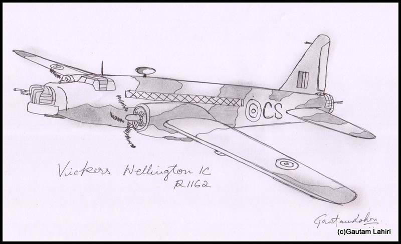 vickers wellington bomber 1936, drawn by Gautam Lahiri