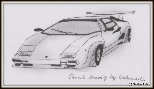 Lamborghini Countach S, drawn by Gautam Lahiri