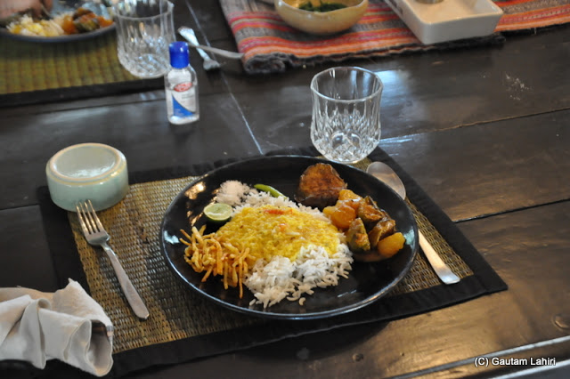 A typical Bengali lunch awaited us and we made good justice to what was on the plate at Bawali Rajbari, Kolkata, West Bengal, India by Gautam Lahiri