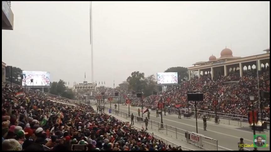 Wagah border, at Attari, flag lowering ceremony at Punjab, India by Gautam Lahiri