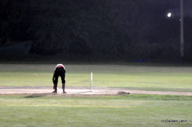 Cricket pitch getting inspected by Gautam Lahiri