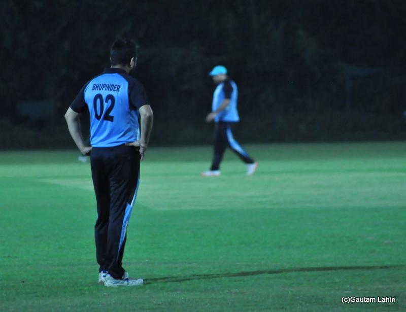Cricket fielder at his position