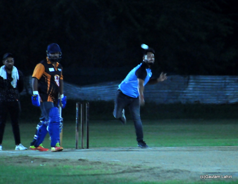 Cricket bowler delivers the ball by Gautam Lahiri