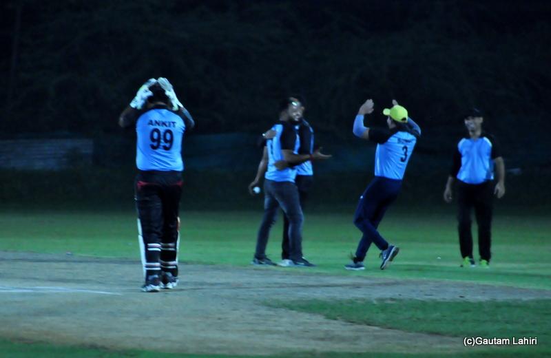 The cricket fielders are happy as a wicket falls by Gautam Lahiri