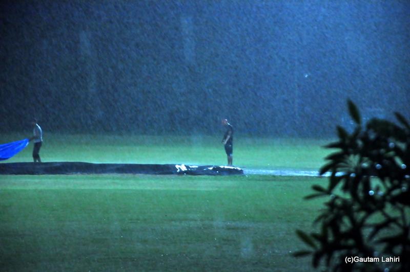 Cricket match stops, as rains deluge the cricket ground by Gautam Lahiri